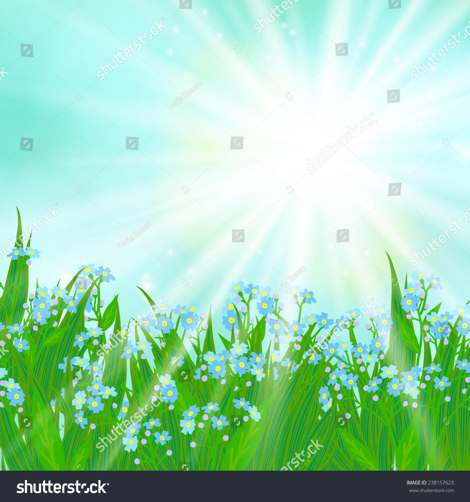 Vector Card Small Blue Flowers On Stock Vector 238157623 ...