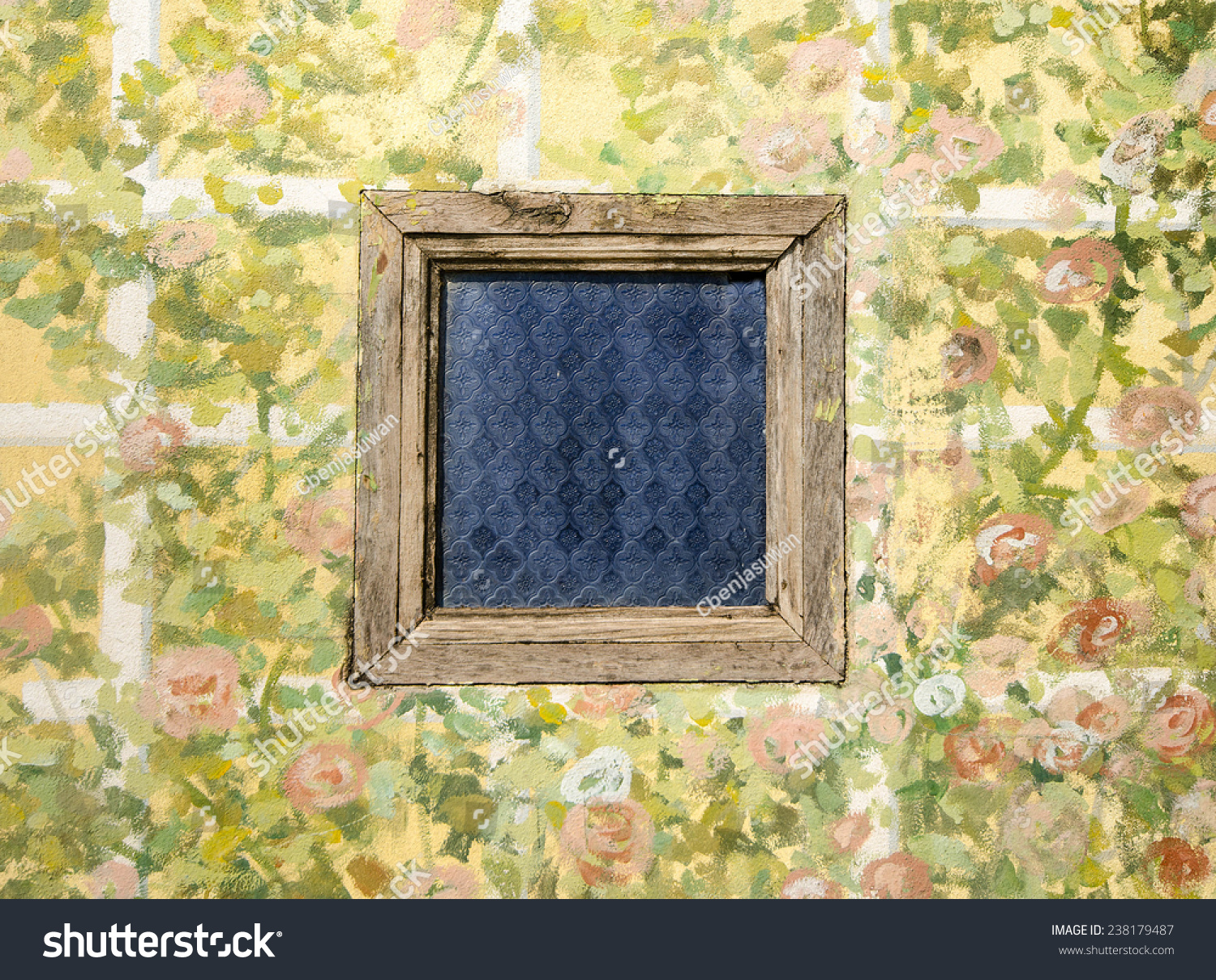 Old Wood Window On Painting Cement Stock Photo (Royalty Free ...