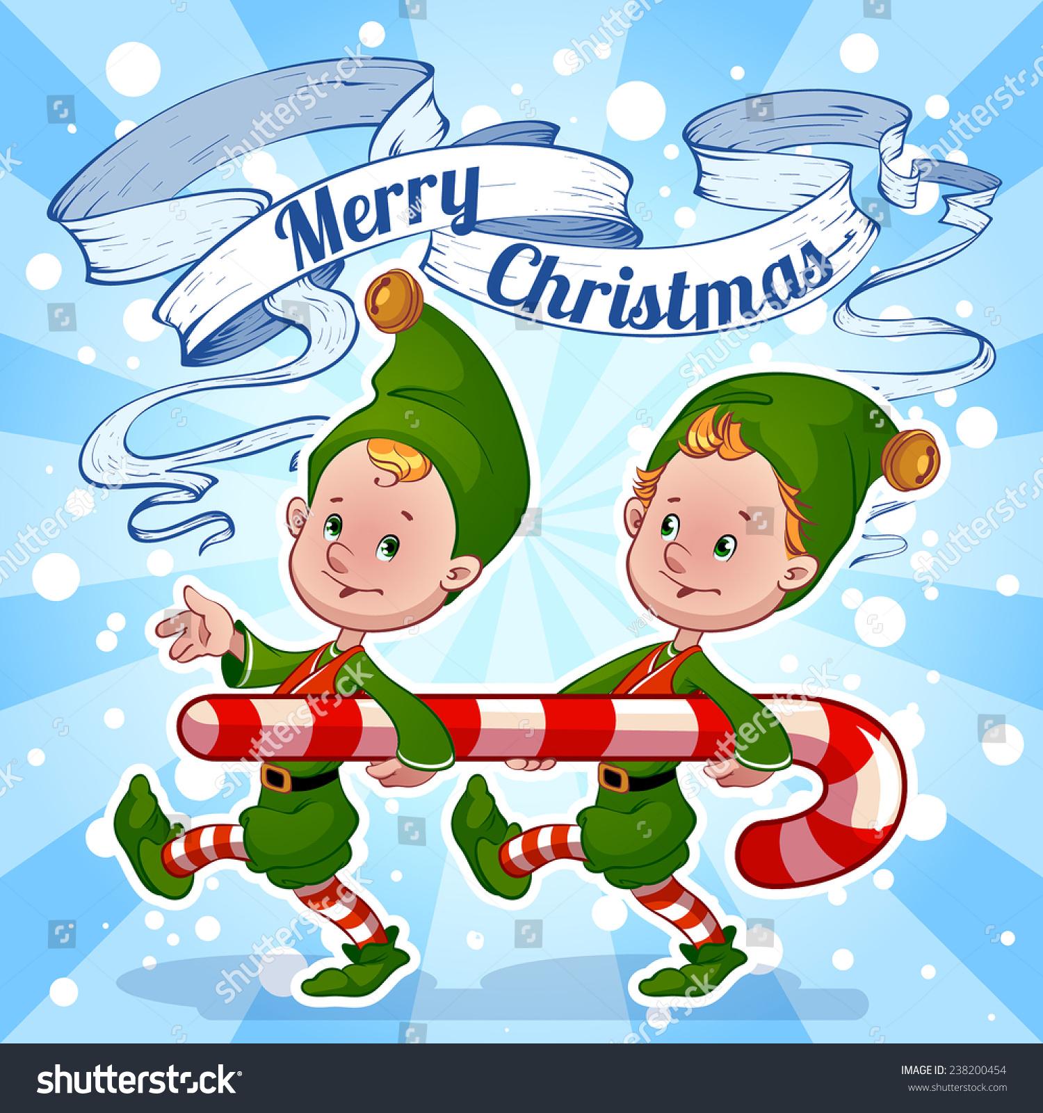 Christmas Card Elves Carry Candy Vector Stock Vector Royalty Free