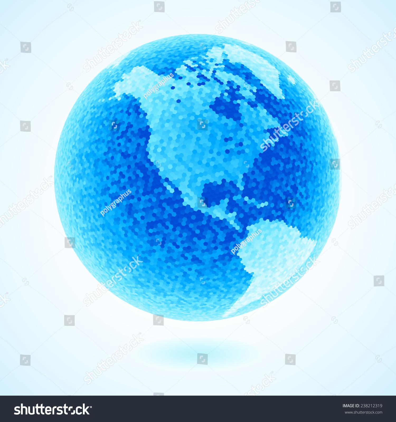 Blue globe consist hexagons eps8 rgb stock vector - Globalcolor burgos ...