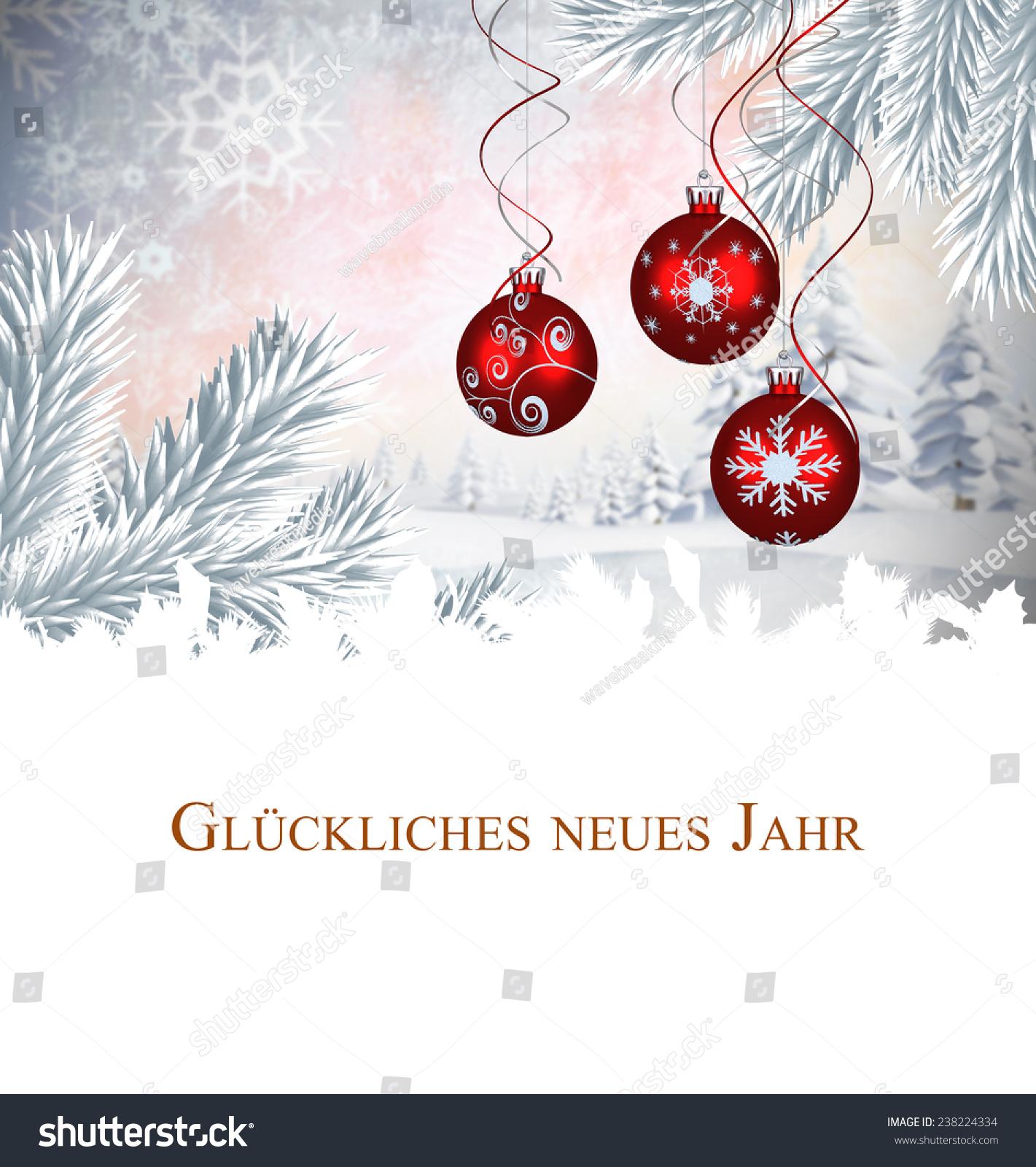 Christmas Greeting German Against Digital Hanging Stock Illustration