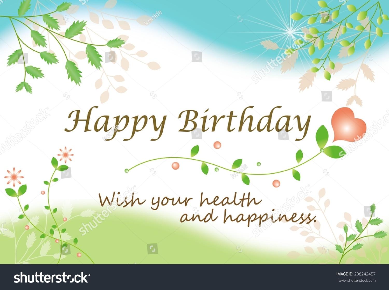 Birthday Card Natural Imagewish You Health Illustration – Nature Birthday Card