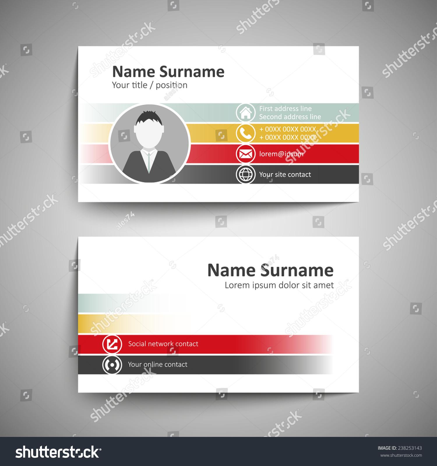 Modern Simple Business Card Template Vector Stock Vector 238253143 ...