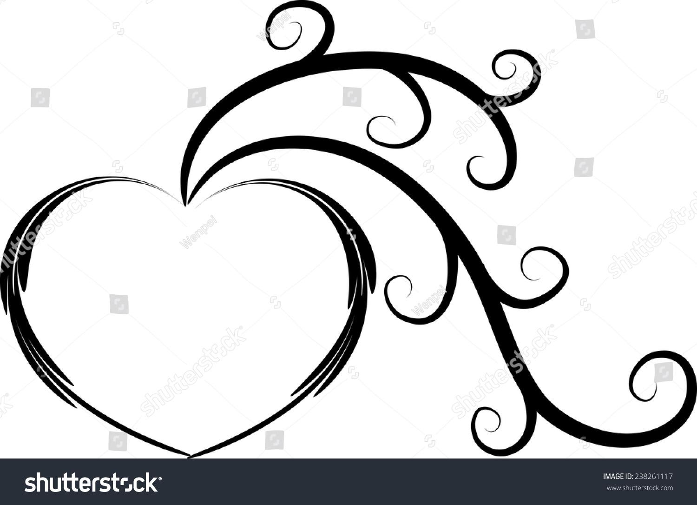 Line Drawing Heart Shape : Vector drawing heart shape tree icon stock