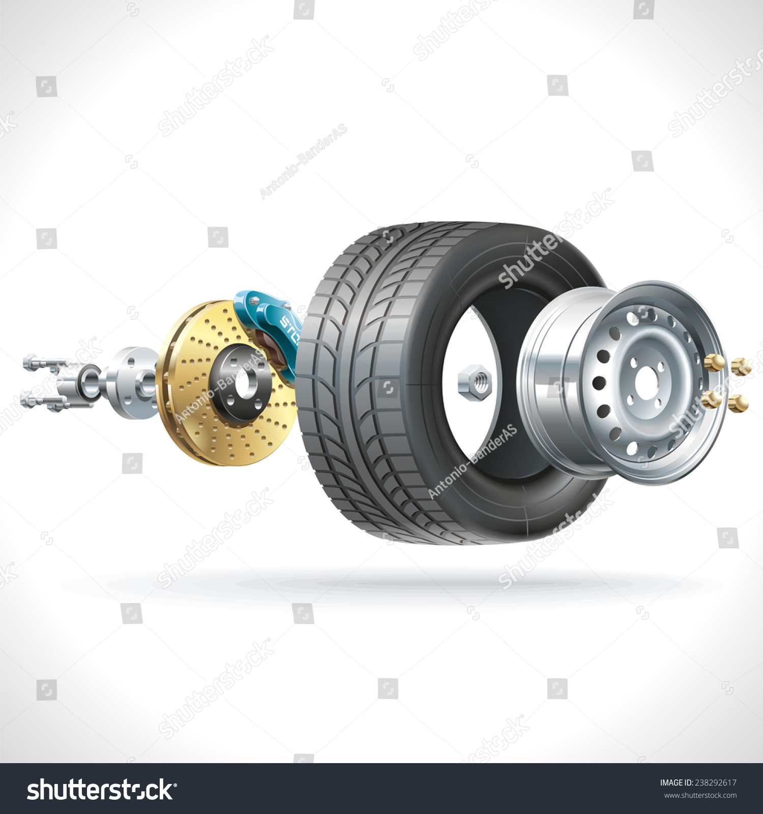 Anatomy Vehicle Wheel Disposed On One Stock Vector 2018 238292617