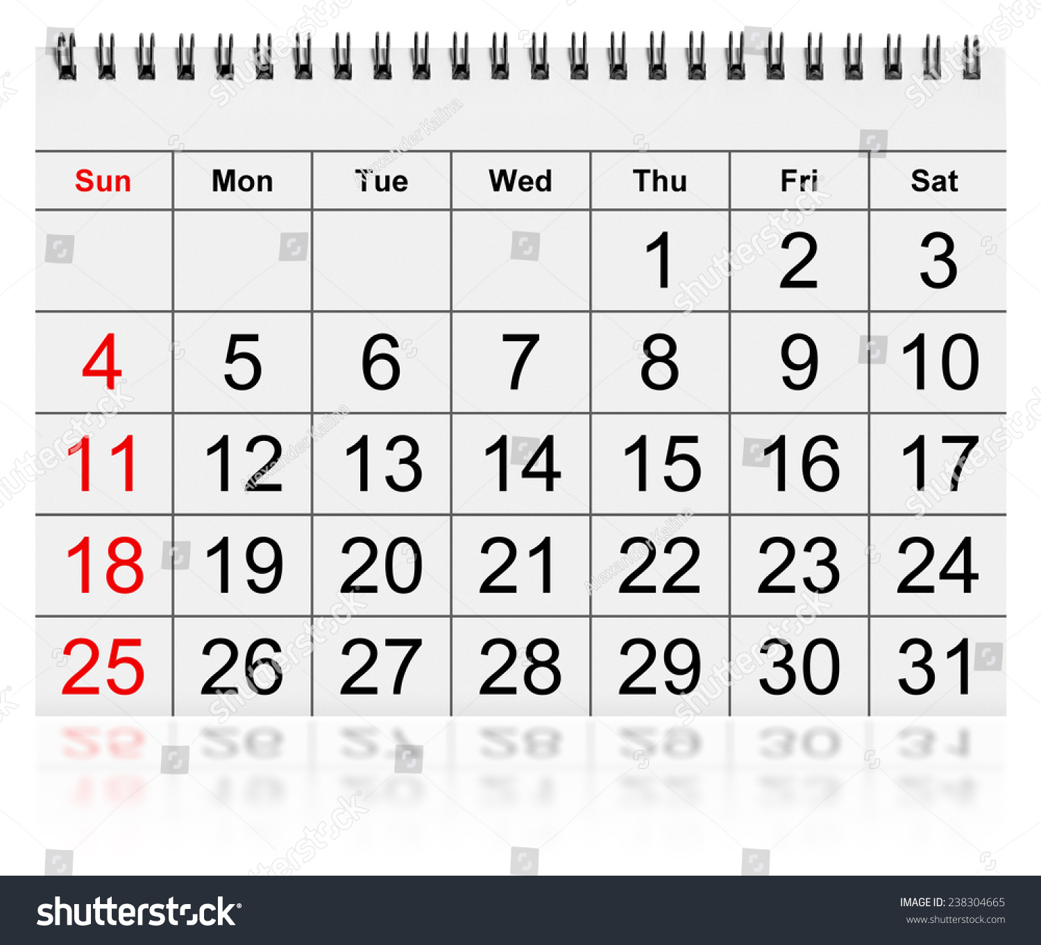 one page annual calendar month january stock illustration 238304665