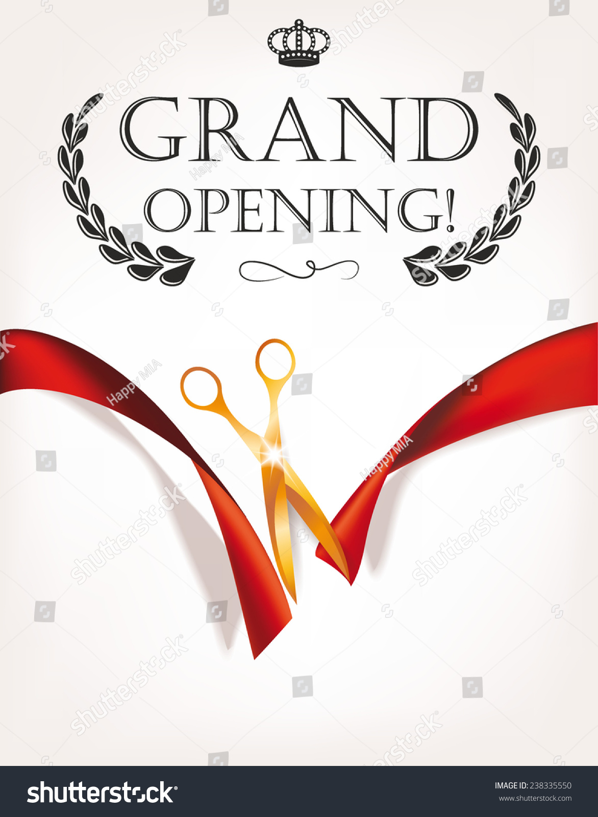 Grand opening invitation card gold scissors imagem vetorial de banco grand opening invitation card with gold scissors stopboris Gallery