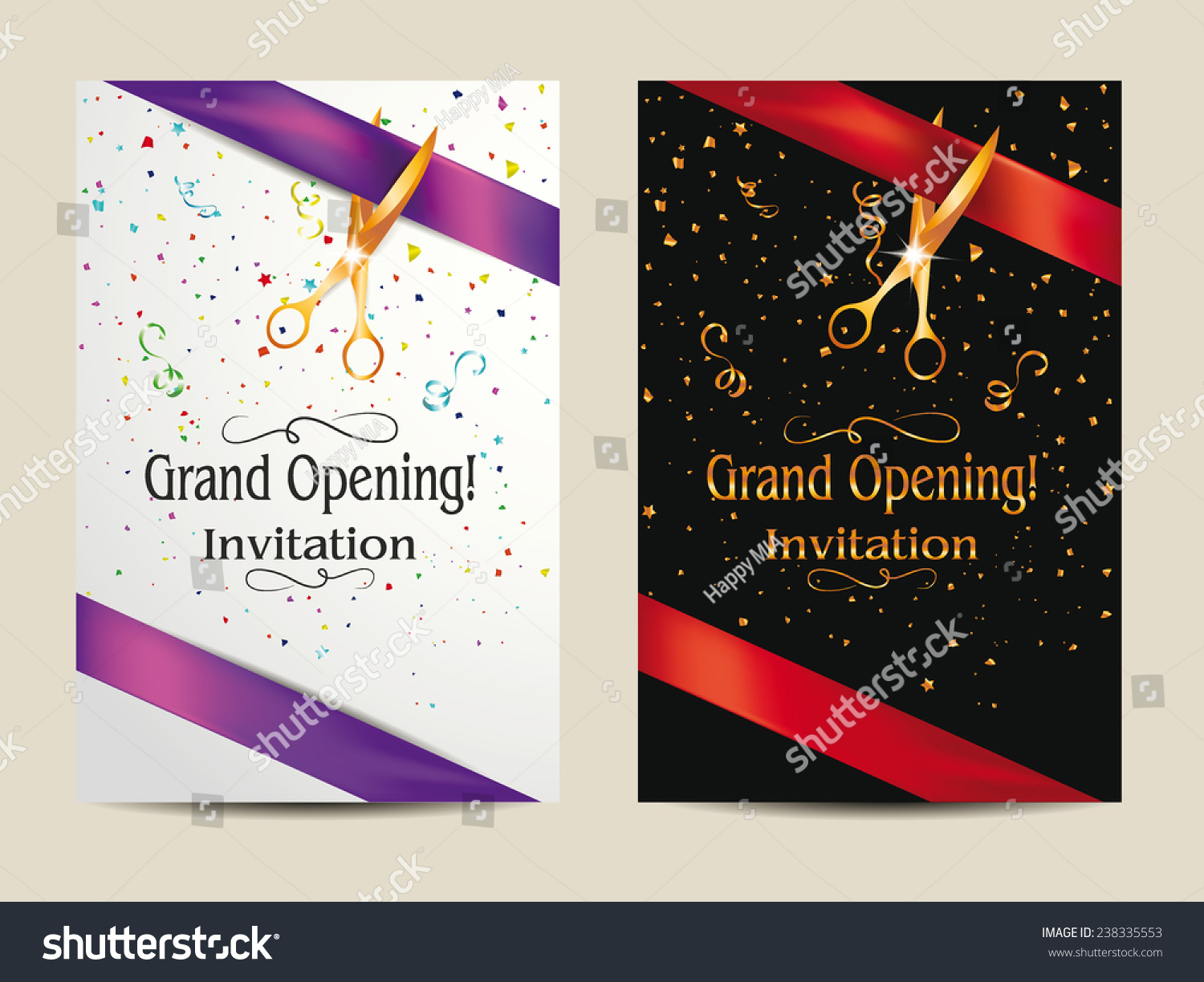 Grand Opening Invitation Cards Confetti Vector 238335553 – Inauguration Invitation Card Sample