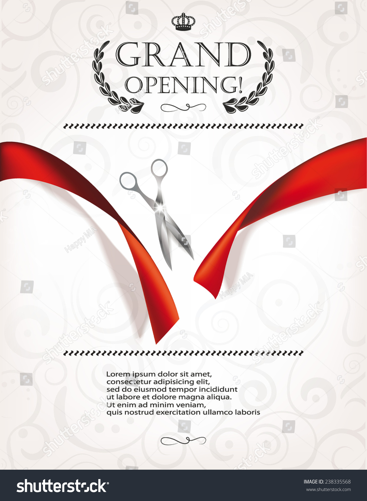 Grand Opening Invitation Card Silver Scissors Stock Vector 238335568 - Shutterstock
