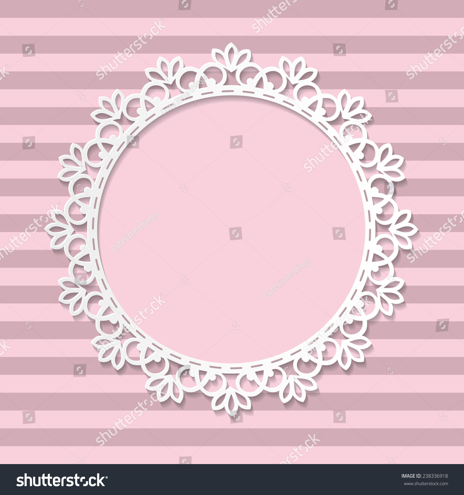 Vector round frame with pink flowers on white background in pastel - Cute Paper Cut Photo Frame For Baby Girl On Striped Seamless Background In Pastel Pink Colors