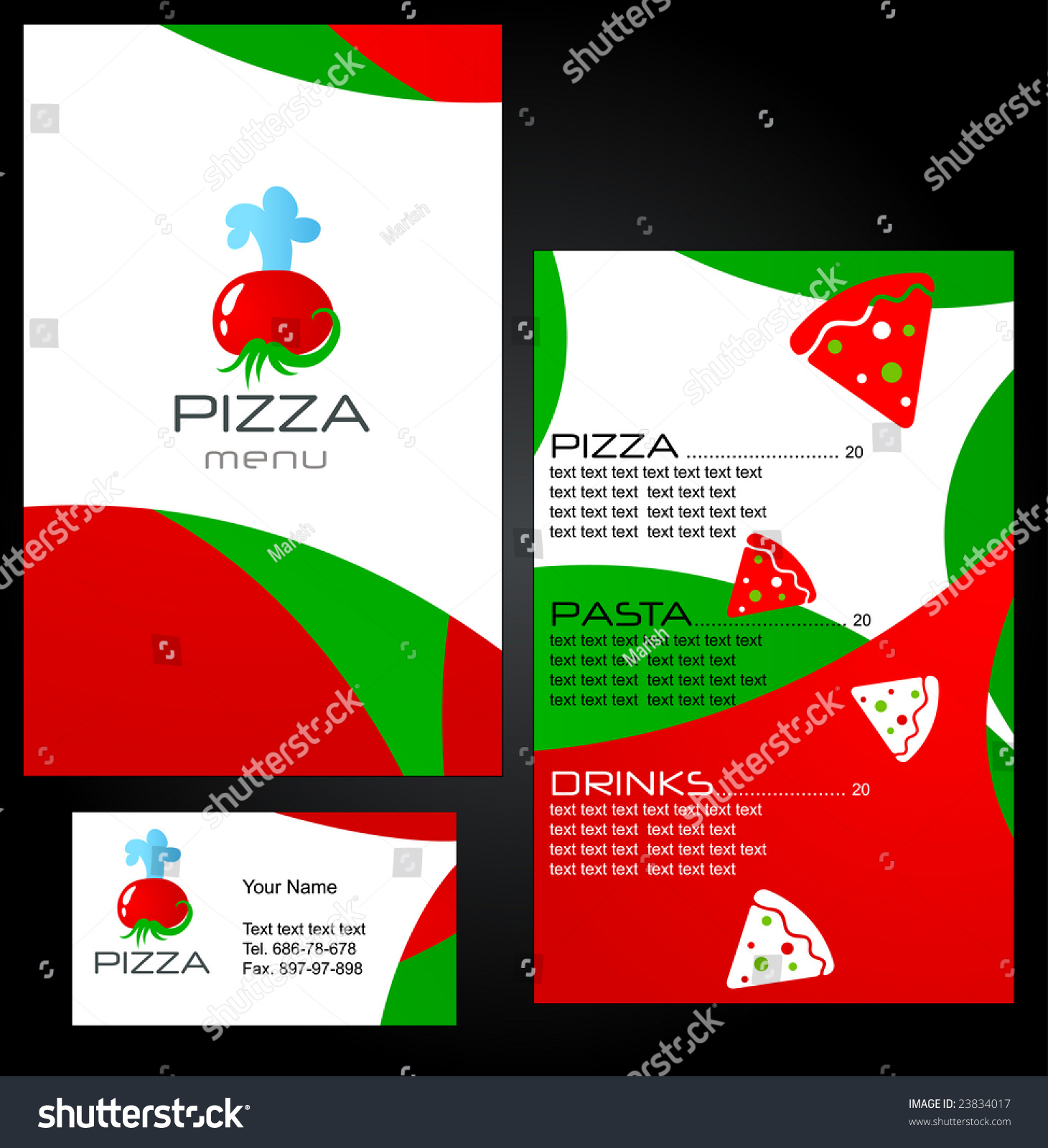 Template Menu Pizza Restaurant Business Card Stock Vector 23834017 ...