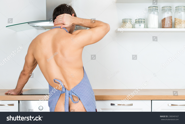 Naked Man Preparing Food Kitchen View Stock Photo (Royalty Free ...