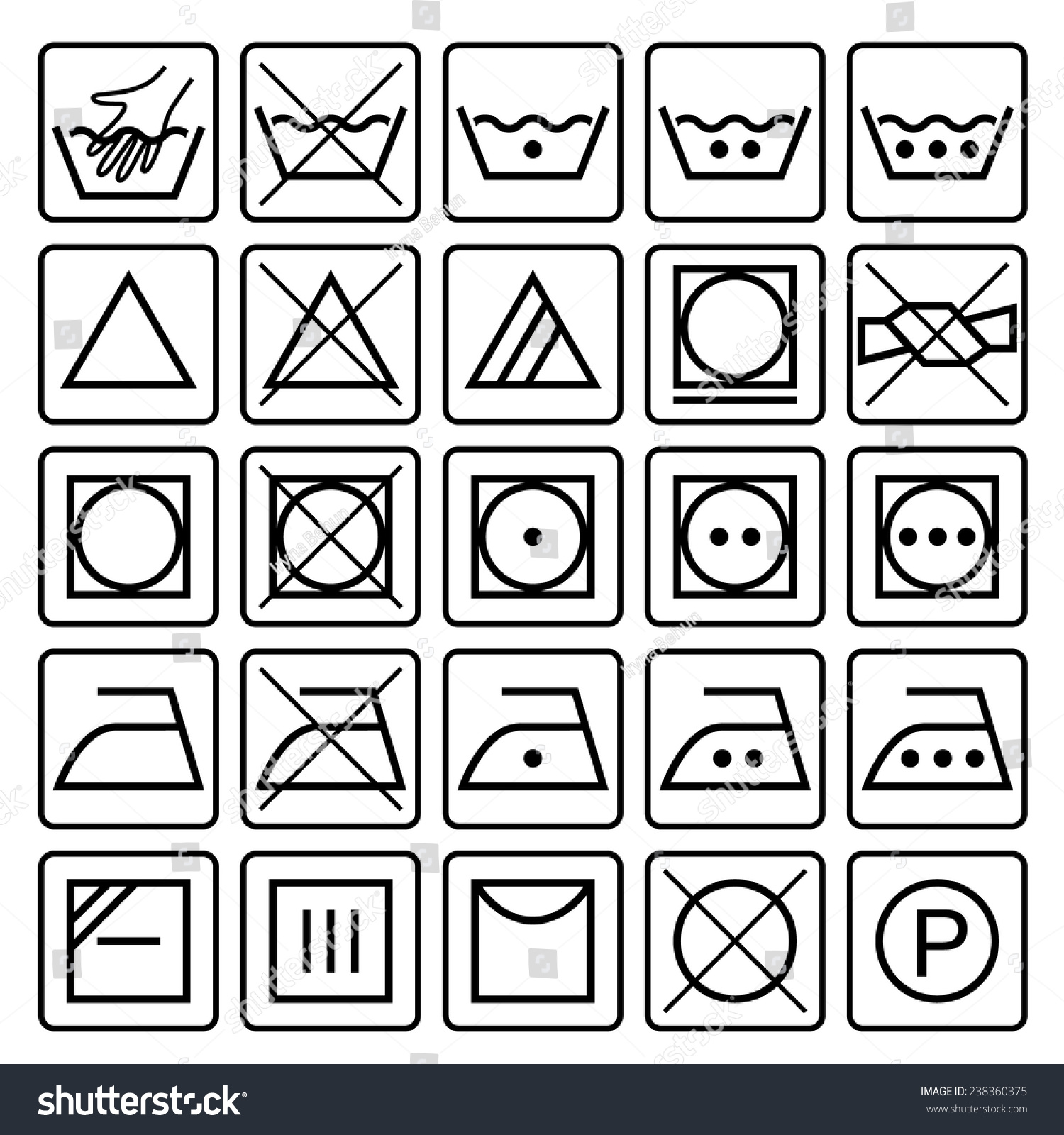 Laundry Care Symbols Set Textile Care Stock Vector 2018 238360375