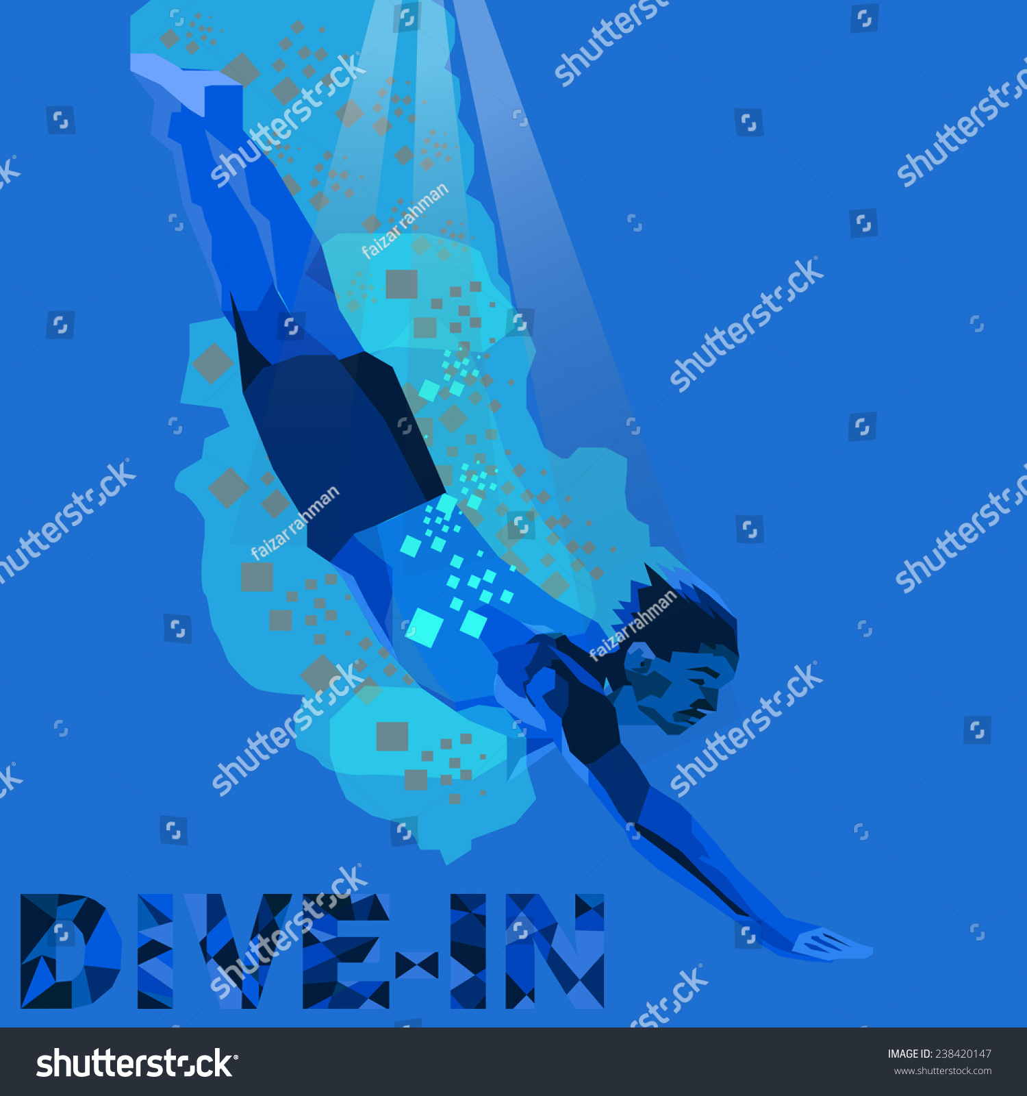Dive in to the deep blue ocean stock vector illustration - Dive deep blue ...