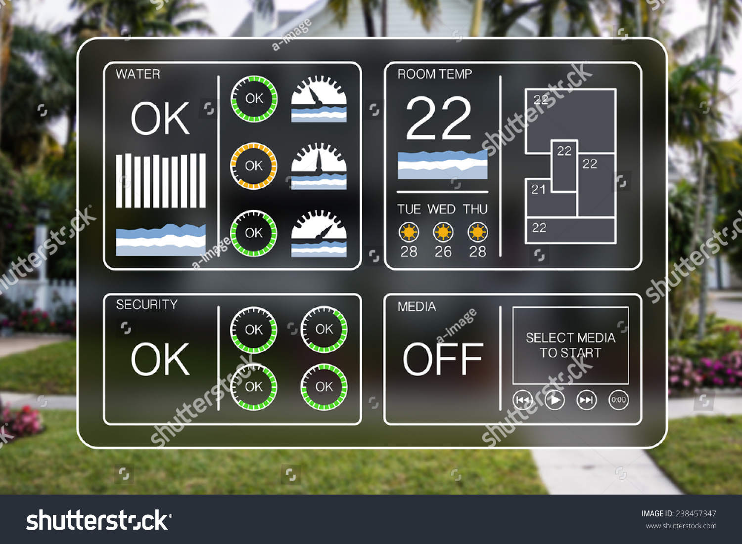 flat design illustration of a home automation dashboard to control home appliances like water heating - Home Automation Design
