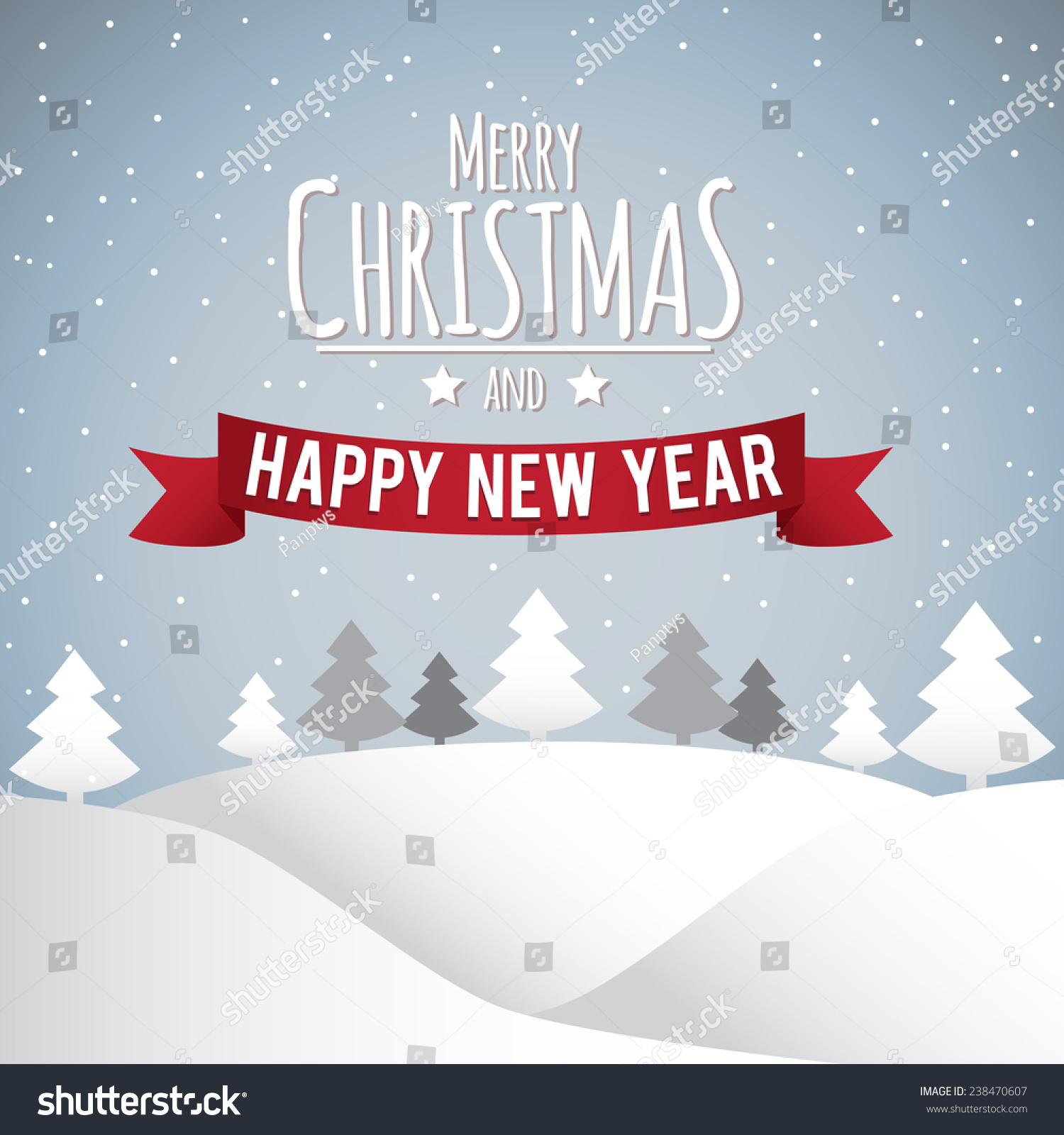 Merry Christmas Happy New Year Poster Stock Illustration 238470607 ...