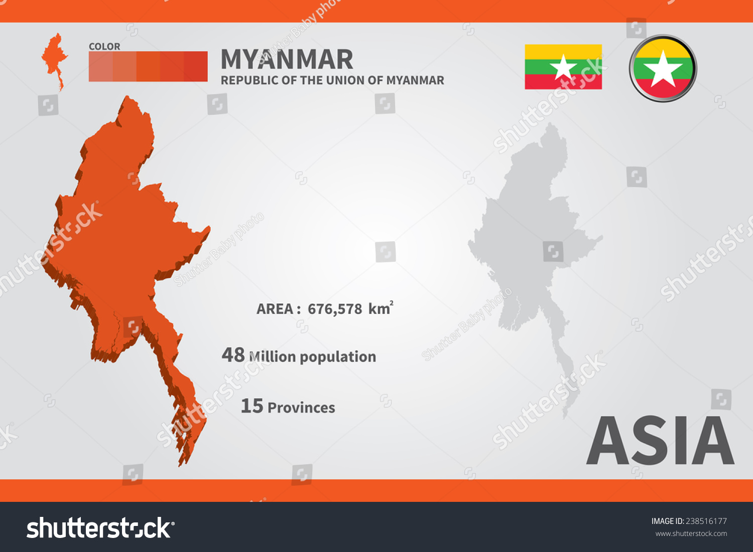 Myanmar flag asia world map vector stock vector hd royalty free asia world map vector illustration gumiabroncs Images