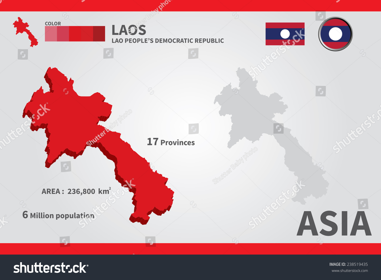 Laos On A World Map.Laos Flag Asia World Map Vector Stock Vector Royalty Free