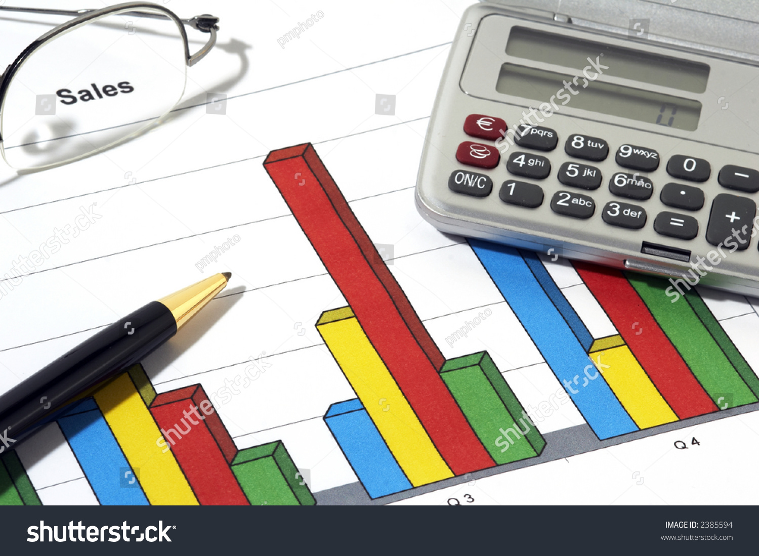 colorful sales report ball pen calculator stock photo edit now