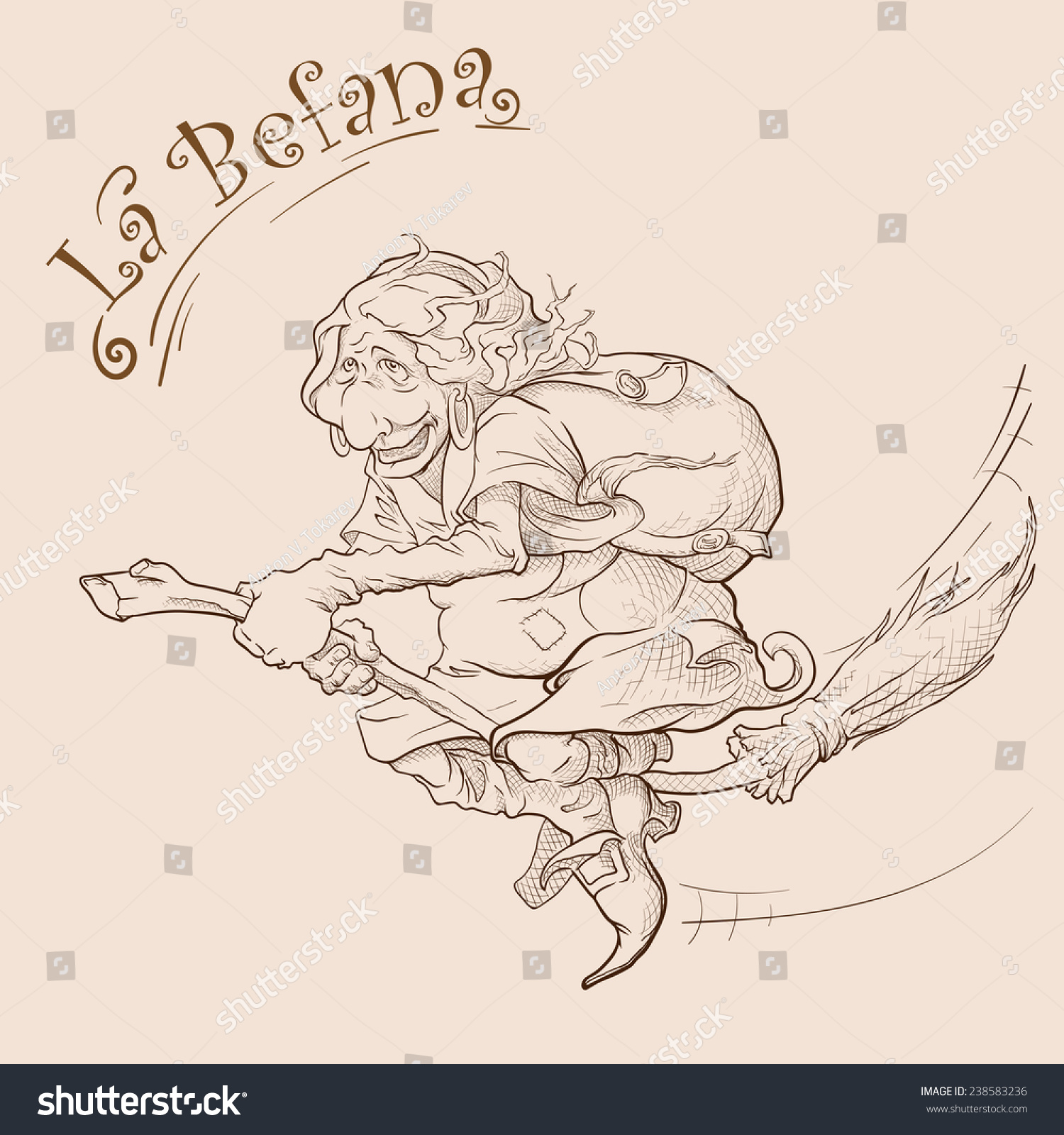 La Befana Italian Colleague Santa Old Stock Vector Royalty Free