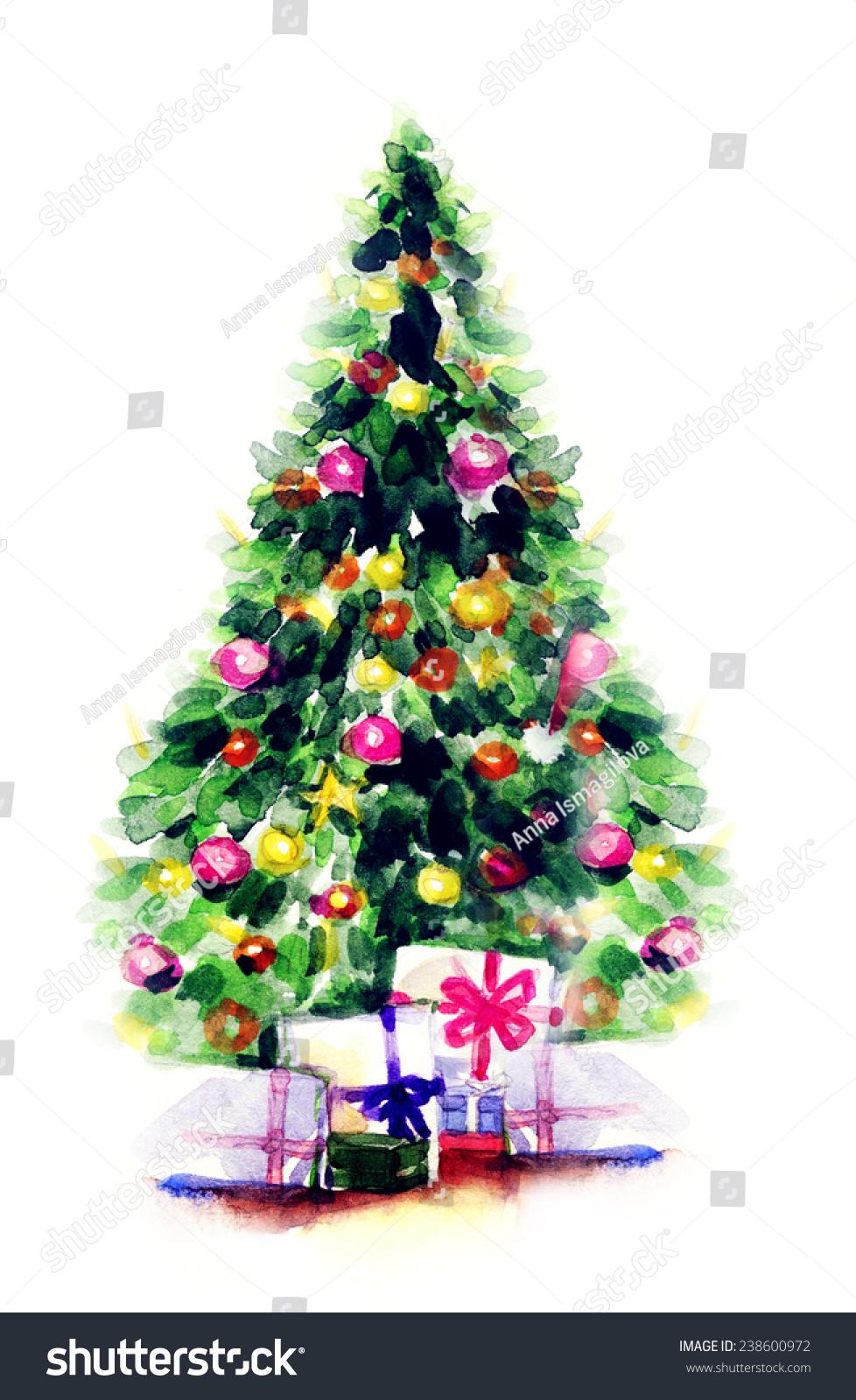 Decorated Christmas Tree Watercolor Illustration Stock Illustration ...