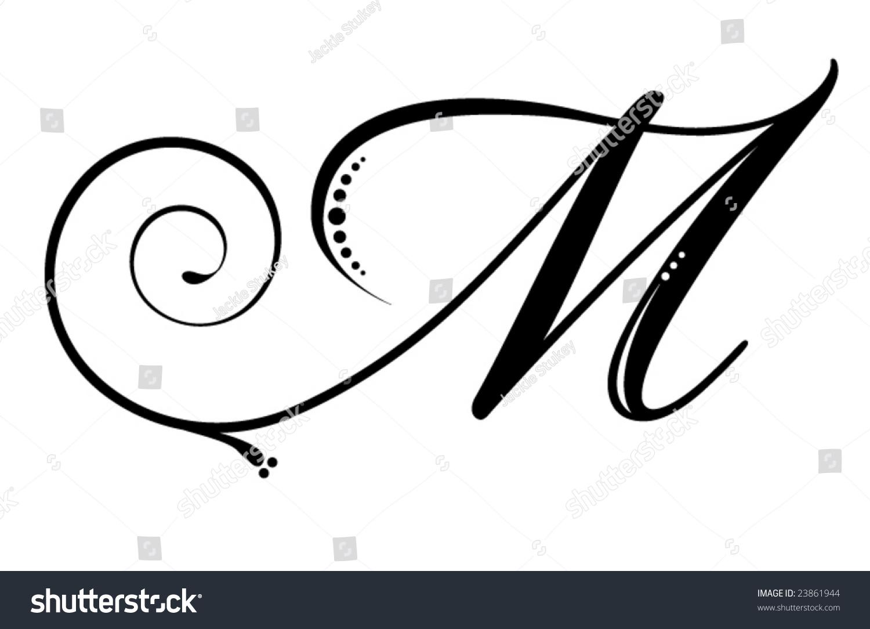 Letter M Script Stock Vector Royalty Free 23861944 Shutterstock