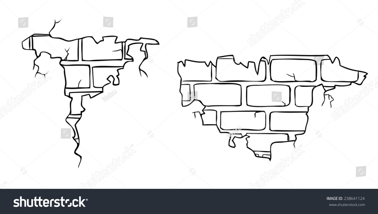 Cracked brick wall drawing brick wall - Brick Wall Crack Drawing