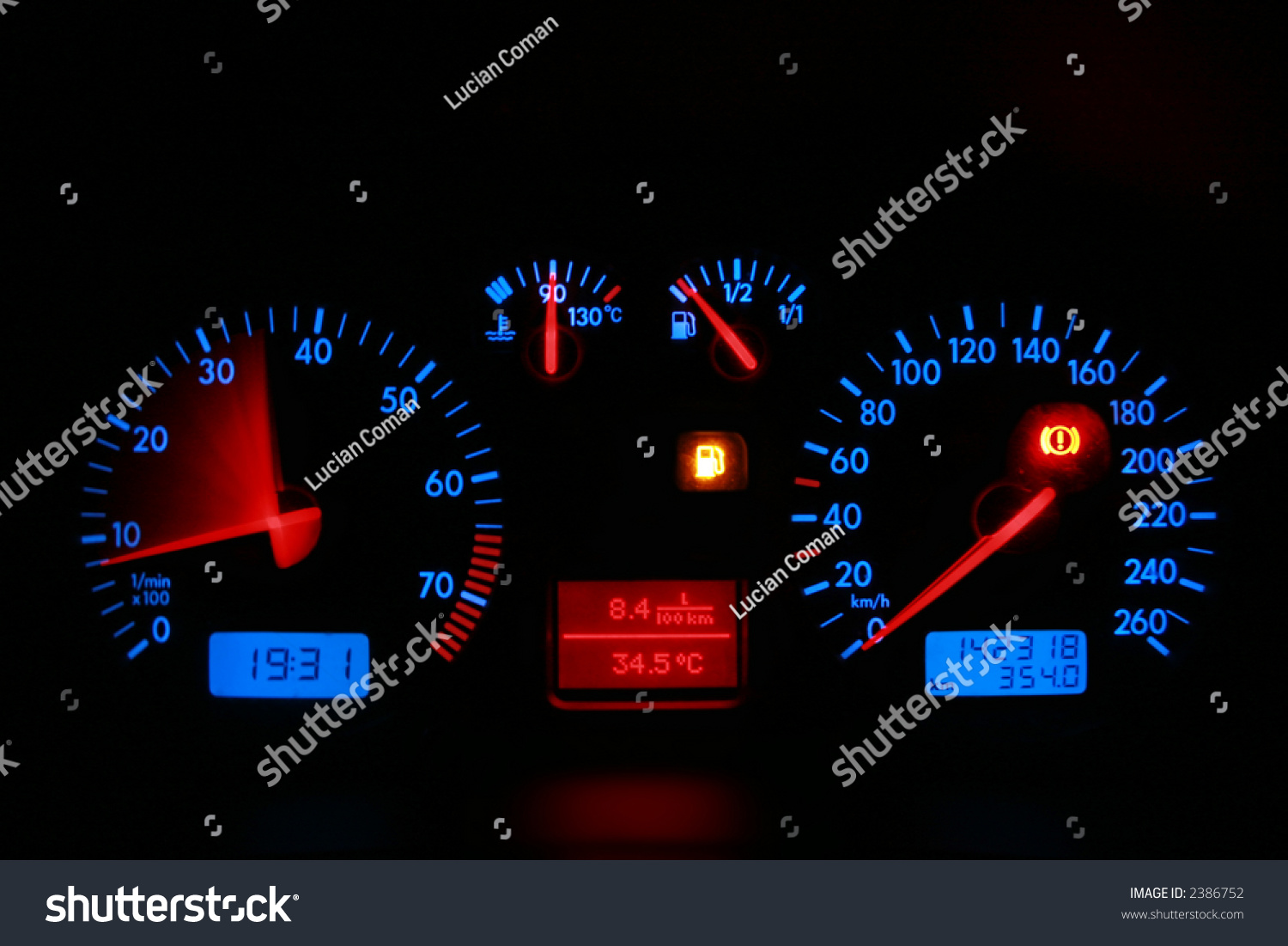 car dashboard red blue neon lights stock photo 2386752 shutterstock. Black Bedroom Furniture Sets. Home Design Ideas