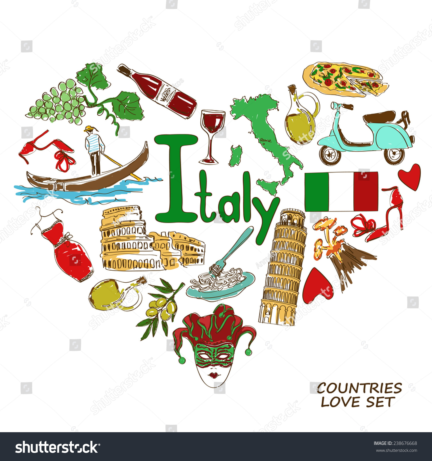 Colorful sketch collection of italian symbols heart shape for Italian culture