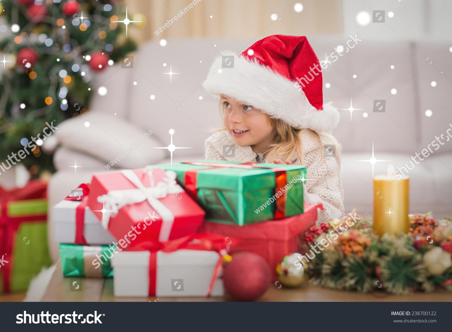Cute Little Girl Surrounded By Christmas Stock Photo 238700122 ...