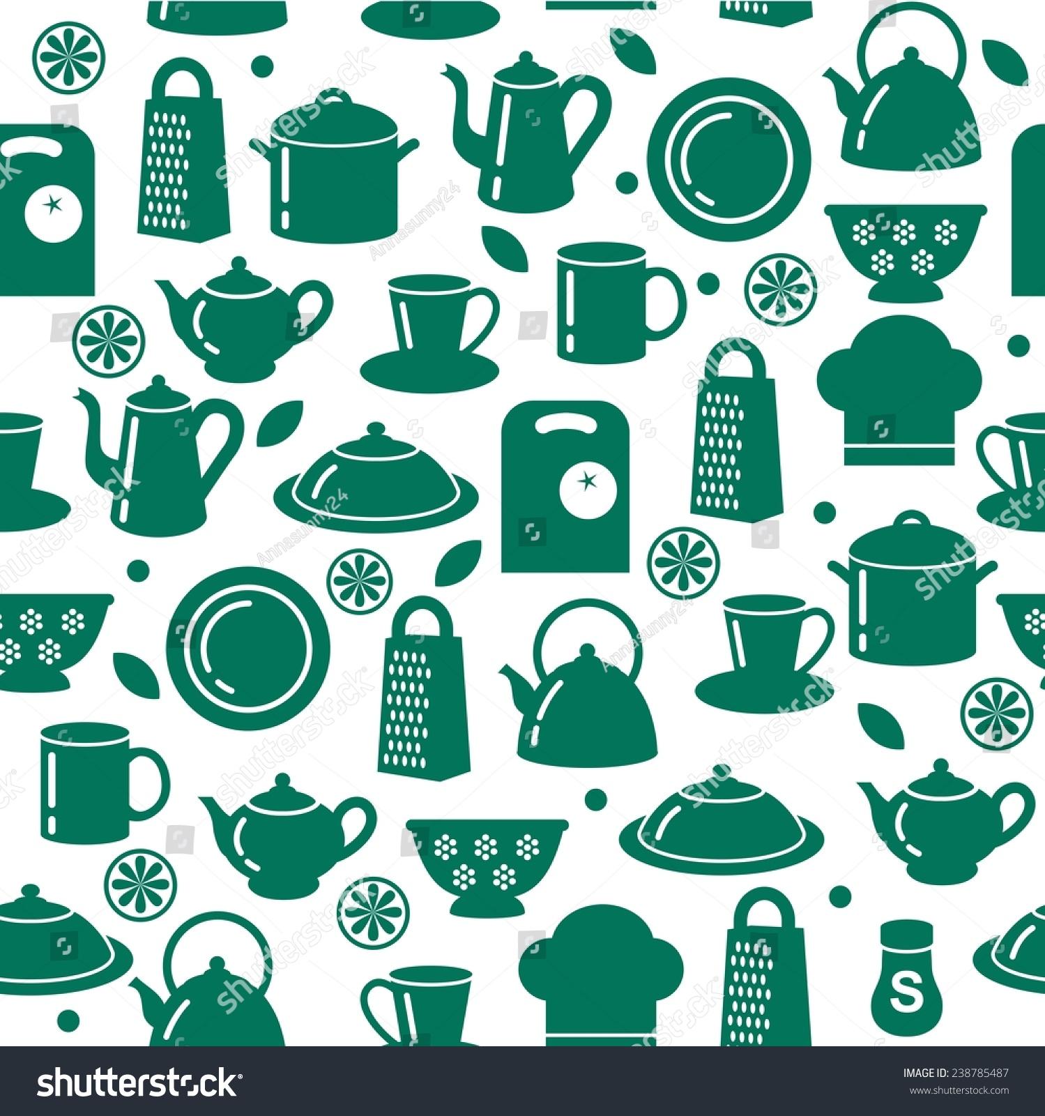 Seamless Pattern Kitchen Utensils Outline Style Stock Vector ...