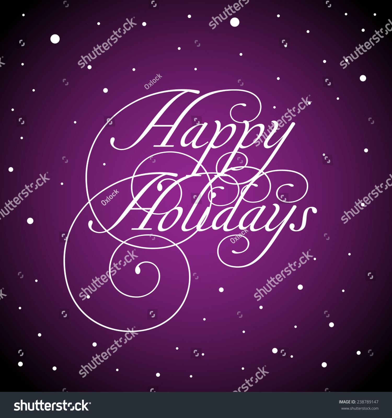 Snowy Purple Background Text Happy Holidays Stock Vector Royalty