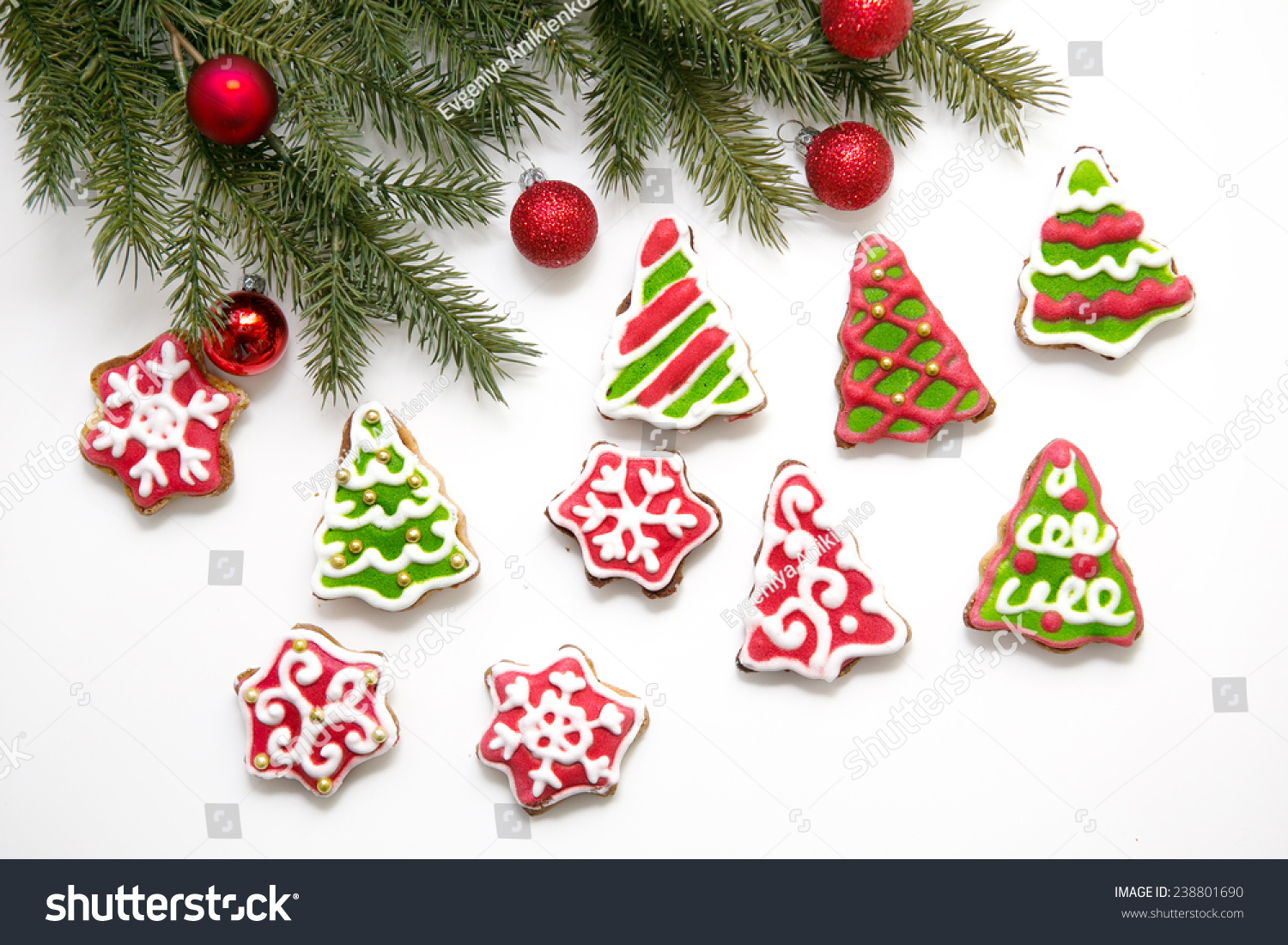 Fir Branch Christmas Cookies Red Balls Stock Photo (Royalty Free ...