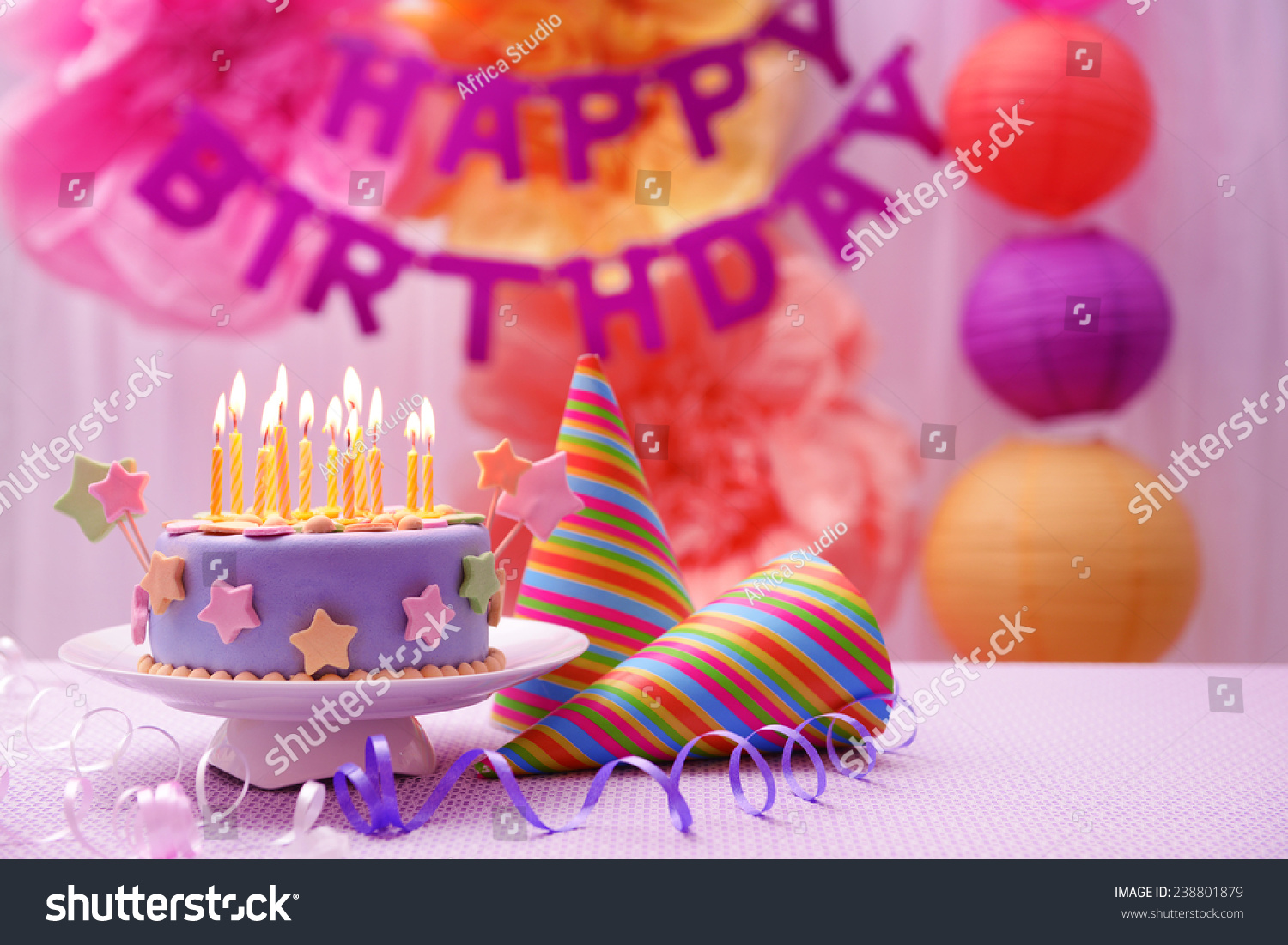 Delicious Birthday Cake On Table On Stock Photo Royalty Free