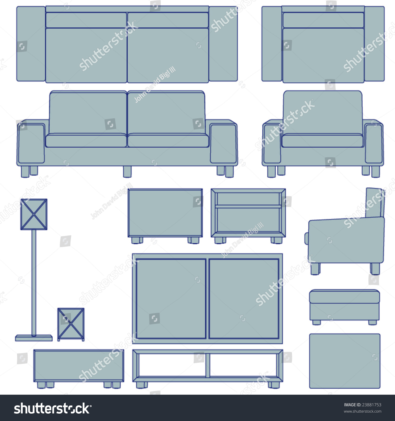 Blueprint living room furniture vector multiple views