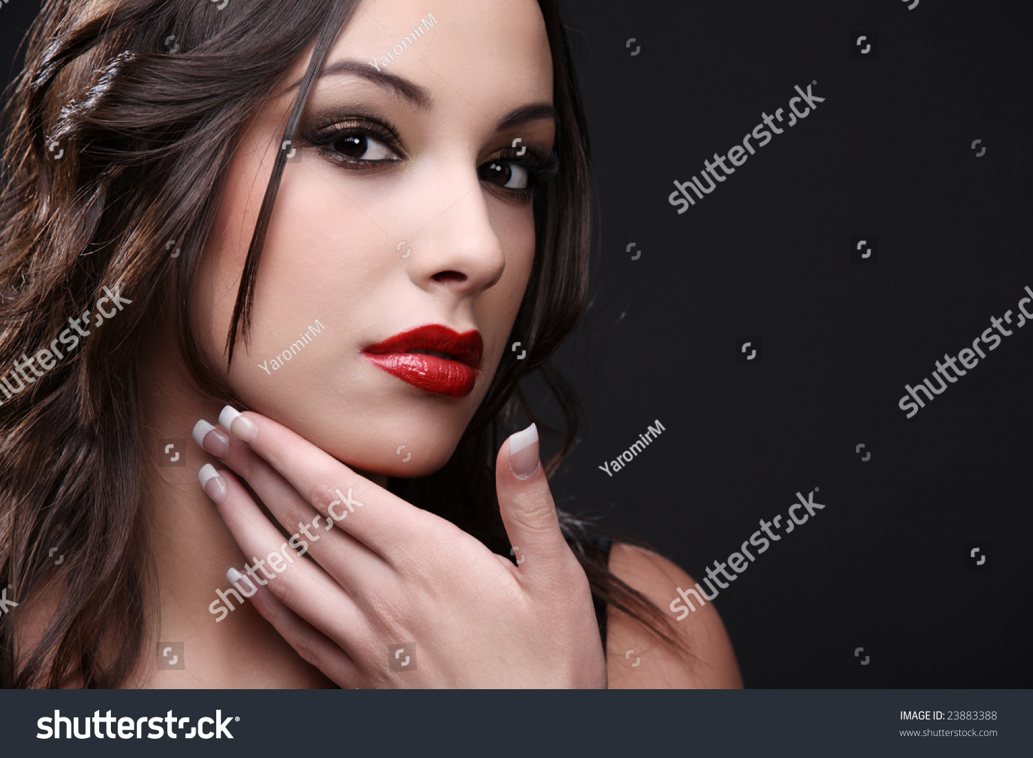 Black dress with red lipstick - Young Cute Woman In Black Dress With Red Lipstick