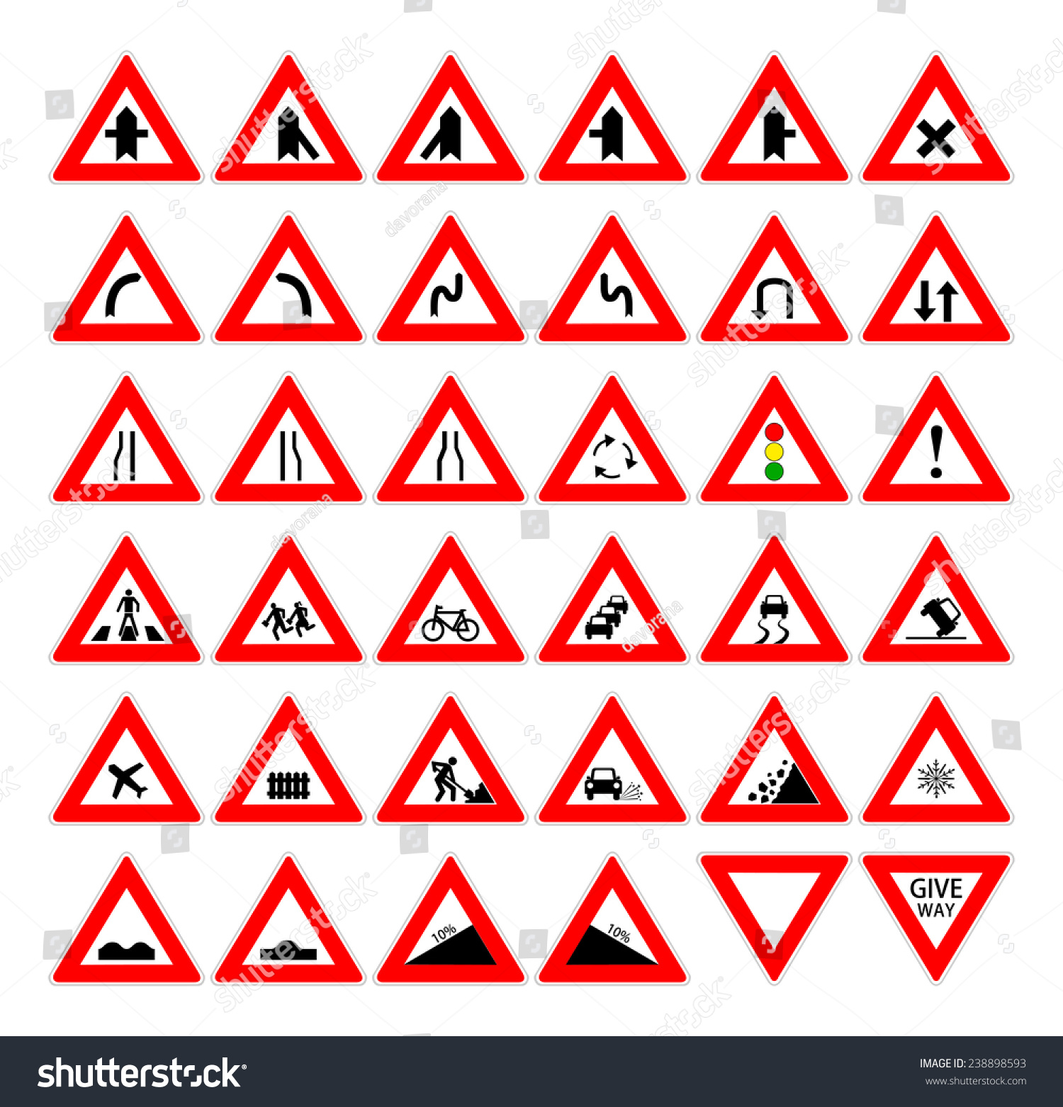 Set red black design triangle road stock vector 238898593 set of red and black design triangle road safety sign collection of car and transportation biocorpaavc