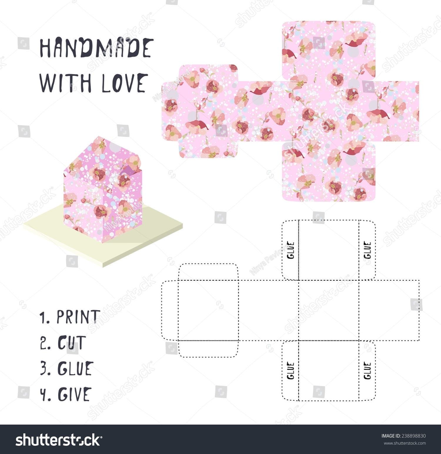 Do yourself vector pink gift box stock vector royalty free do it yourself vector pink gift box template with flower pattern handmade with love solutioingenieria Images