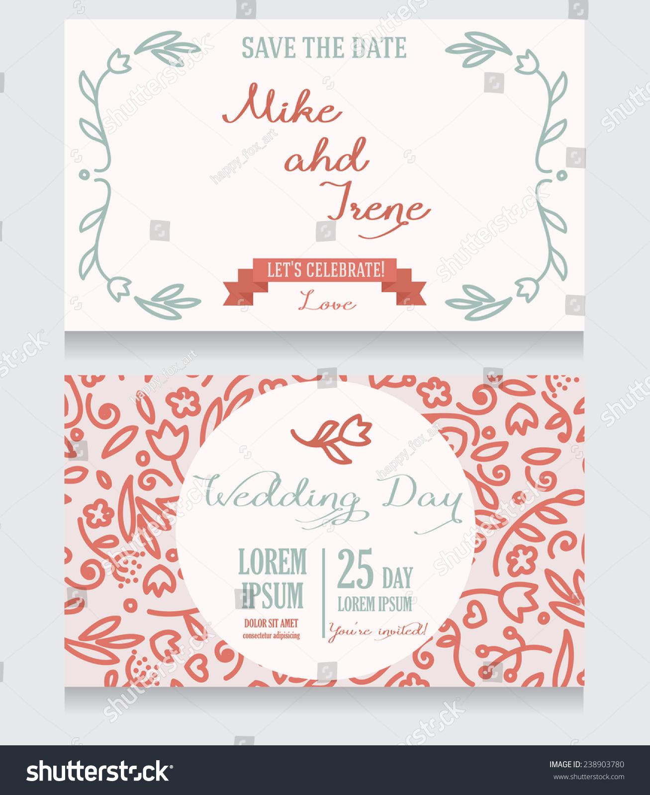 Beautiful Floral Wedding Invitation Vector Illustration Stock Vector ...