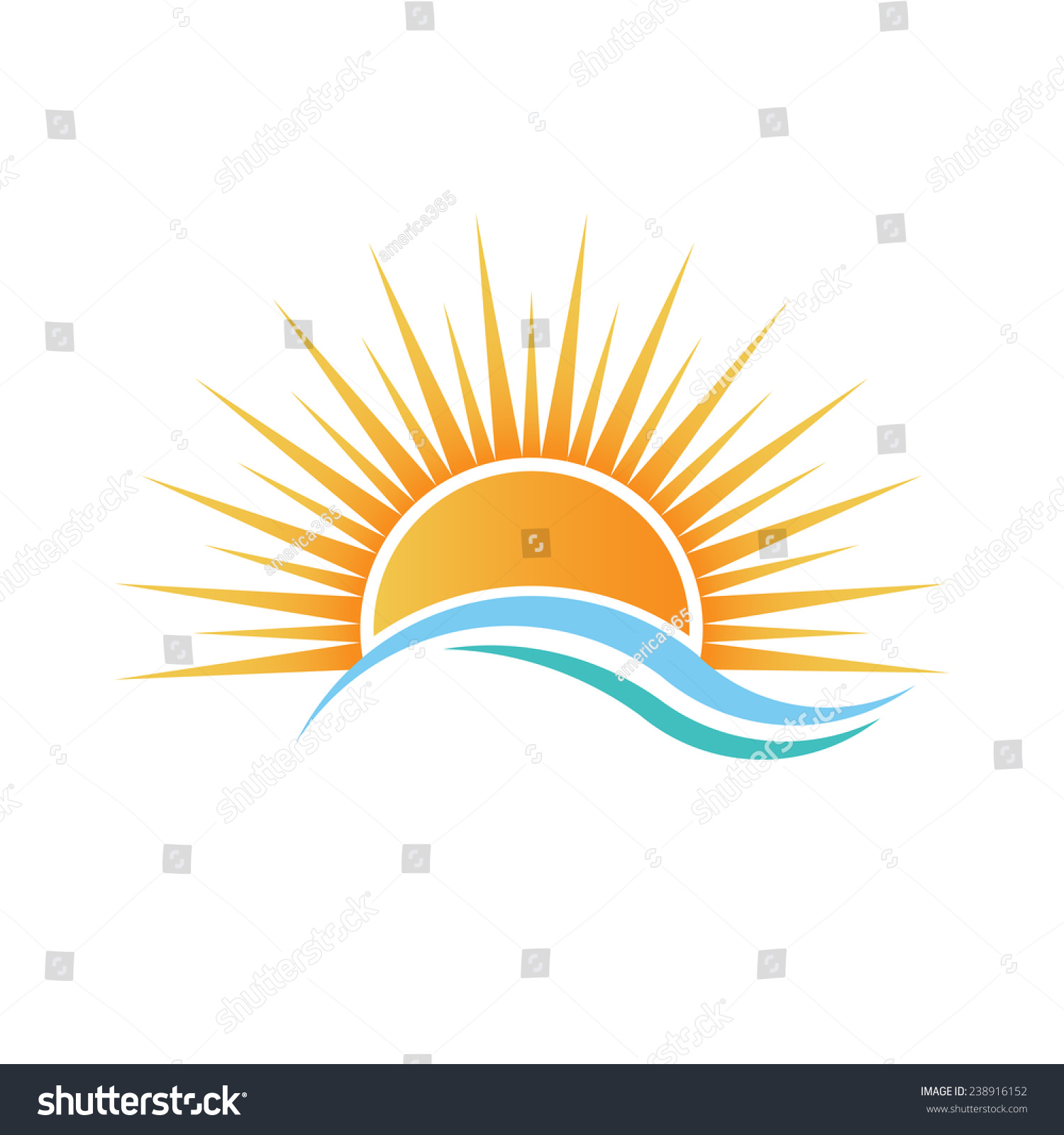 Sunshine Logo Over Water Waves Vector Stock Vector