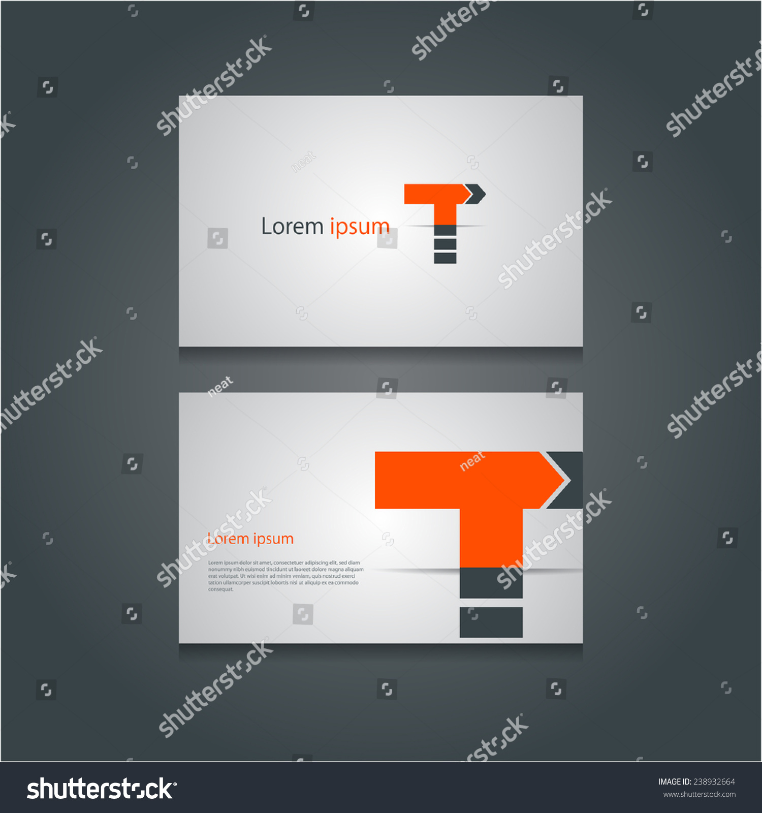 Creative Business Cards Set Abstract Letter Stock Vector 238932664 ...