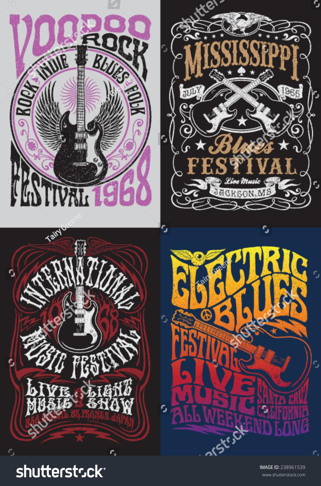 Vintage Rock Poster Tshirt Design Set Stock Vector 238961539 ...