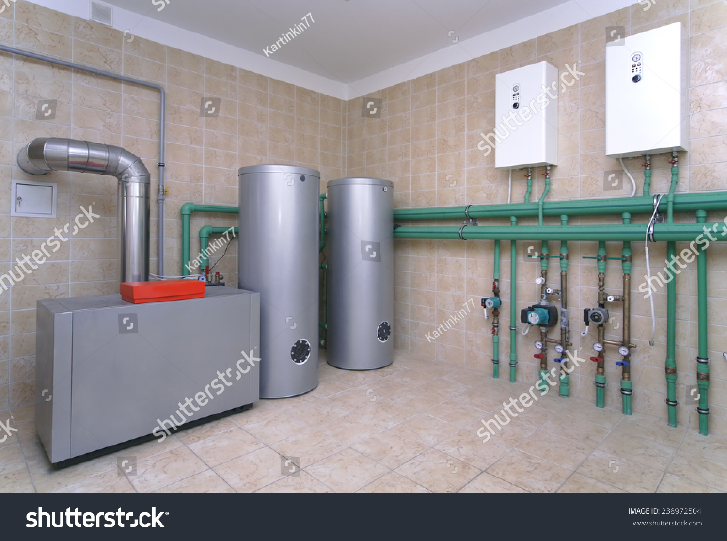 Boiler room heating system private house stock photo for Room heating systems