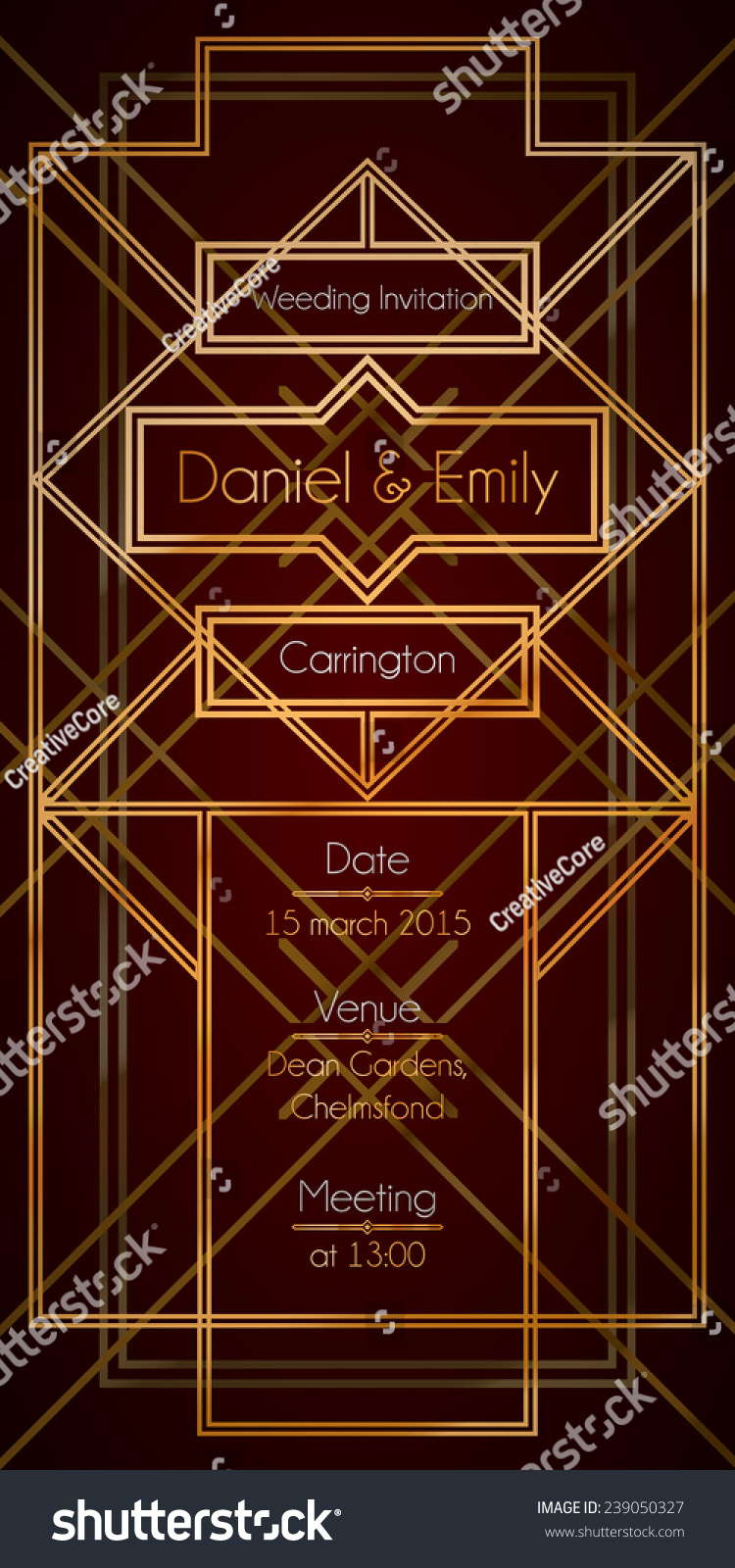 Art Deco Wedding Invitation Stock Vector (Royalty Free) 239050327 ...