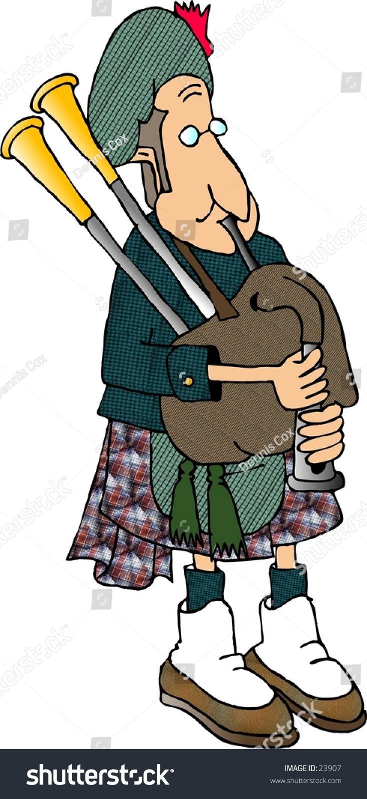 Clipart Illustration Man Traditional Scottish Attire Stock ...