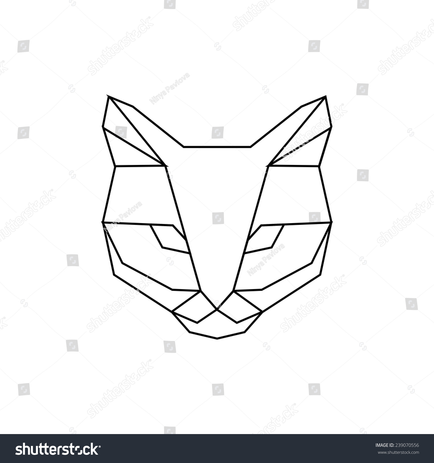 Эскиз тату кот из линий
