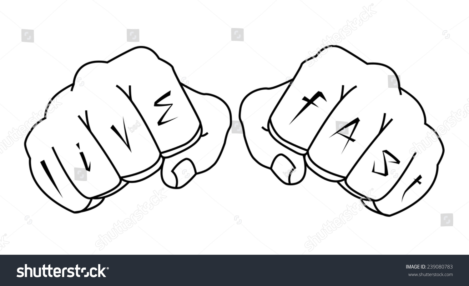 bdd4da6e0 Fists with live fast fingers tattoo. Man hands outlines raster illustration  isolated on white #
