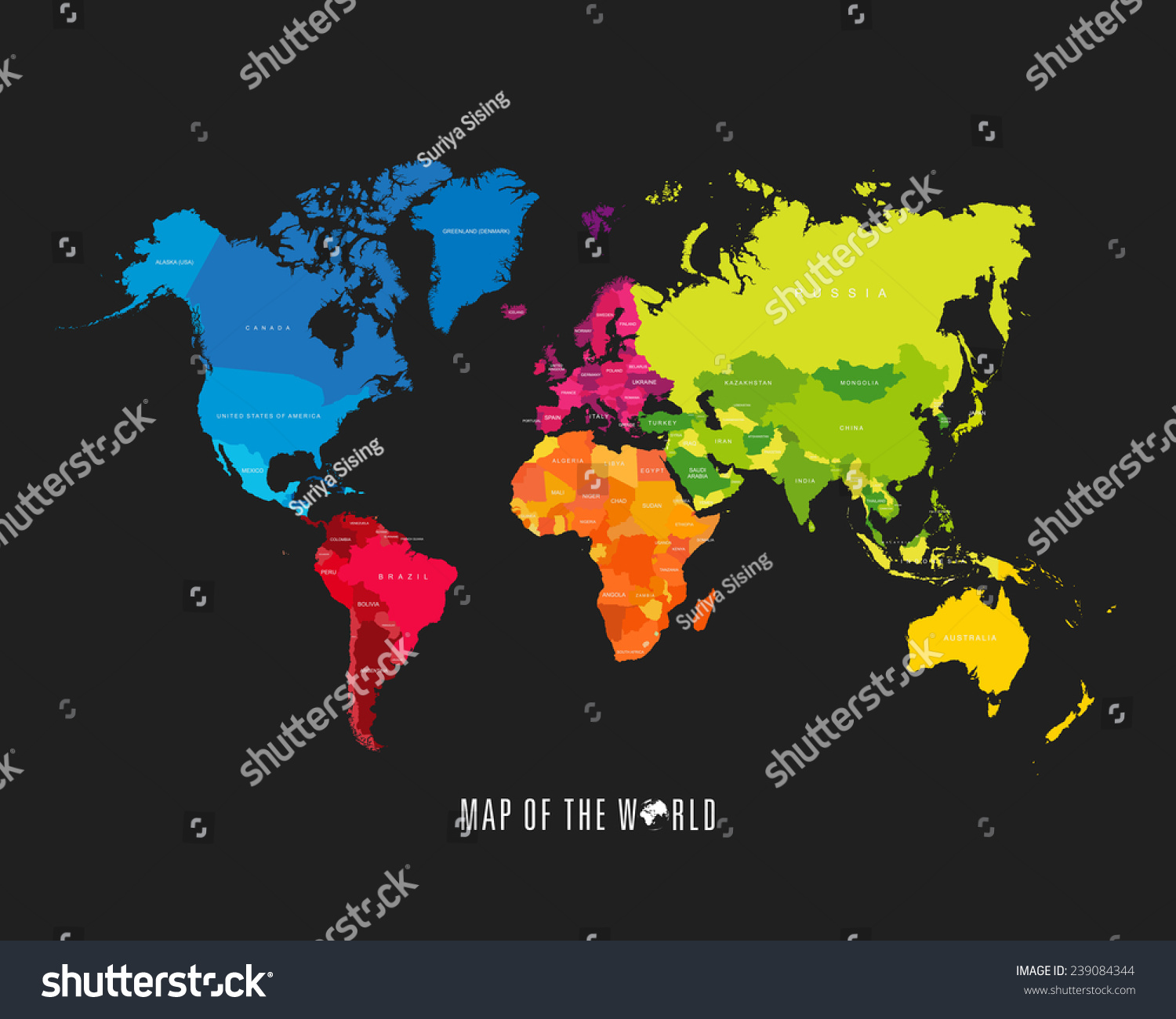World Map Different Colored Continents Illustration Stock ...