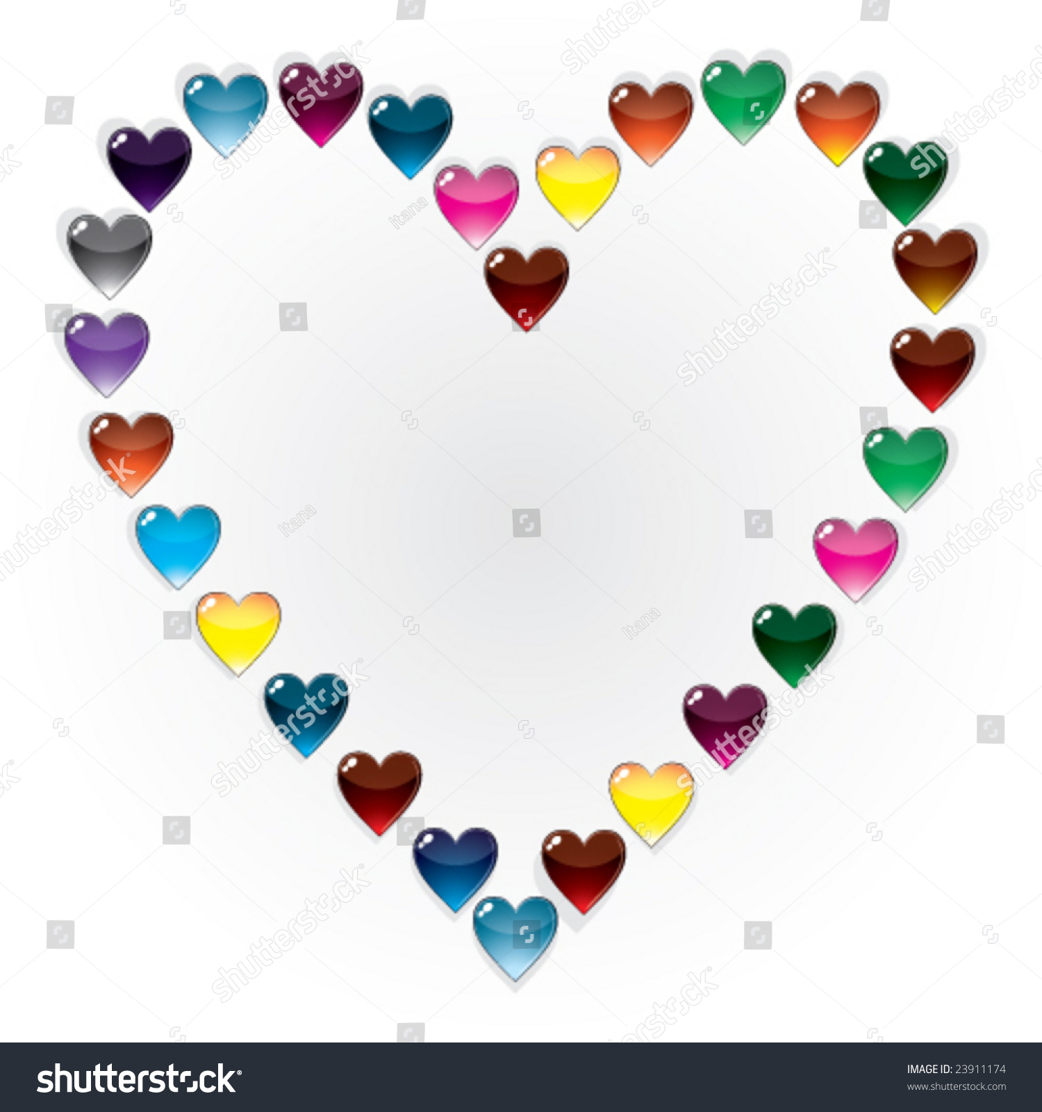 vector heart shaped frame of glass buttons hearts