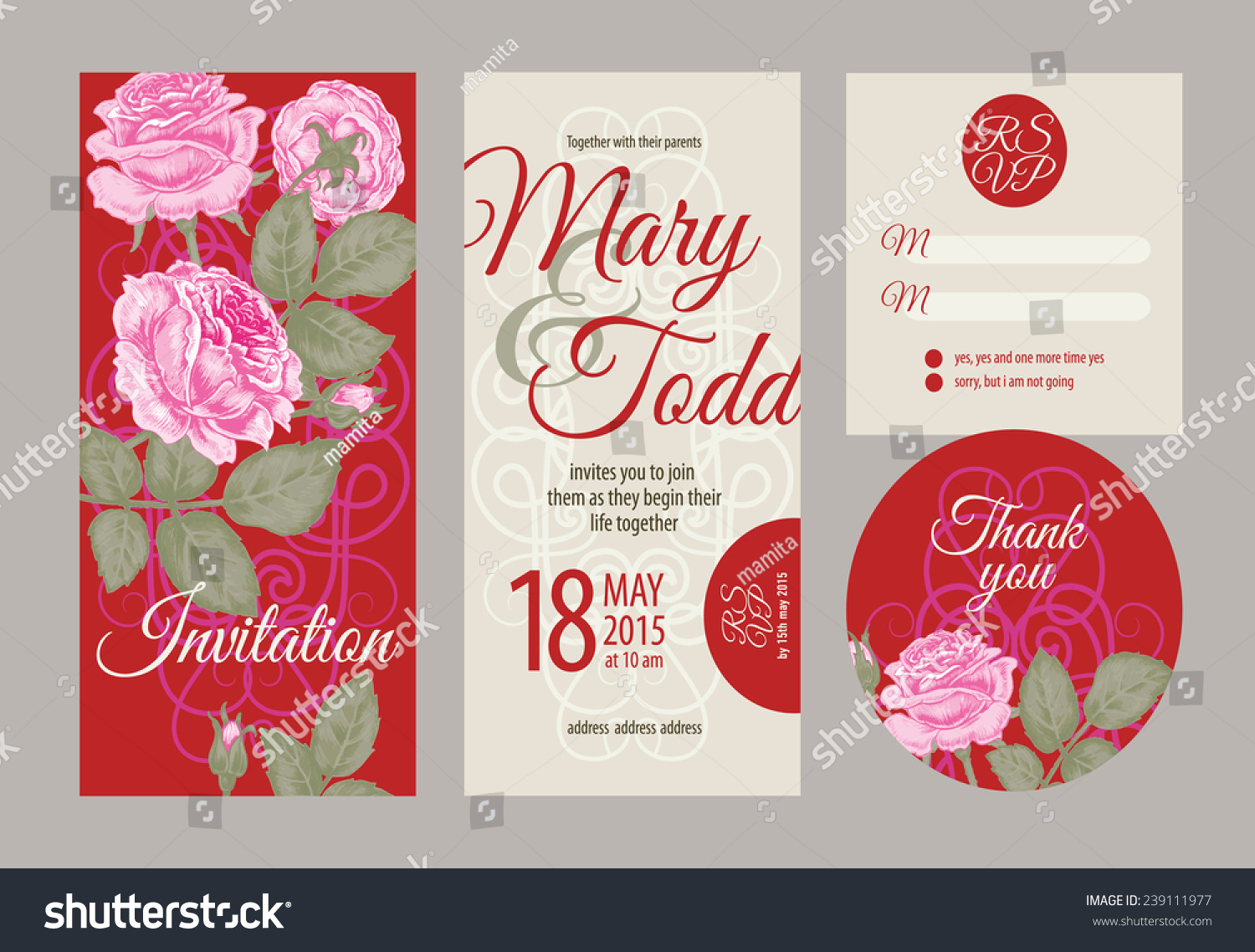 Vector graphics. Set of wedding invitations and announcements with ...
